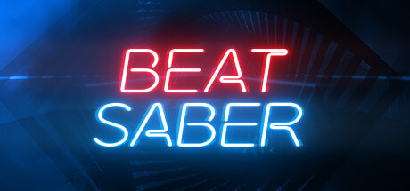 The Beat Saber logo, eponymous, in red and blue neon light style lettering