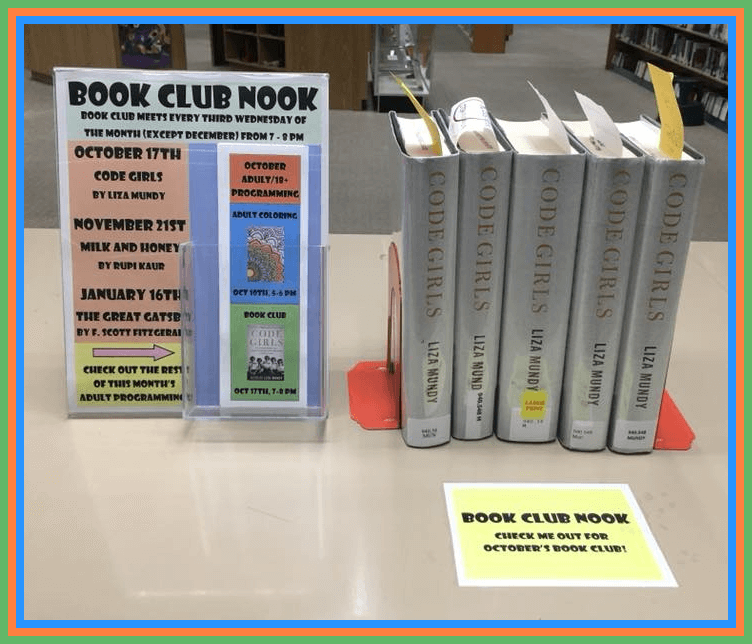 An image of our Book Nook, where this month's book club book can be picked up to check out.