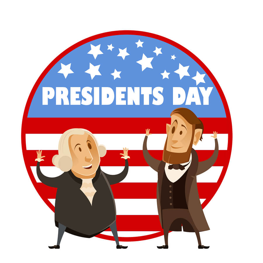 A Presidents Day banner image showing cartoon renditions of George Washington and Abraham Lincoln.