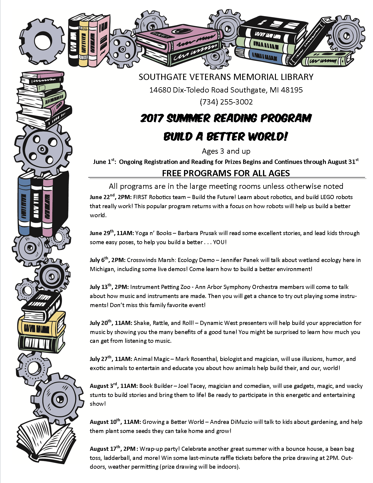 The Soughtage Library Summer Reading 2017 Events flyer, which lists the same information posted below.