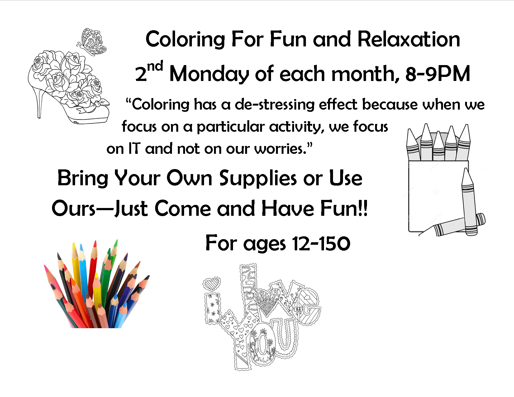Poster for the coloring for relaxation event
