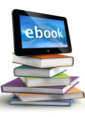 A stack of books under a tablet that reads 'ebook'